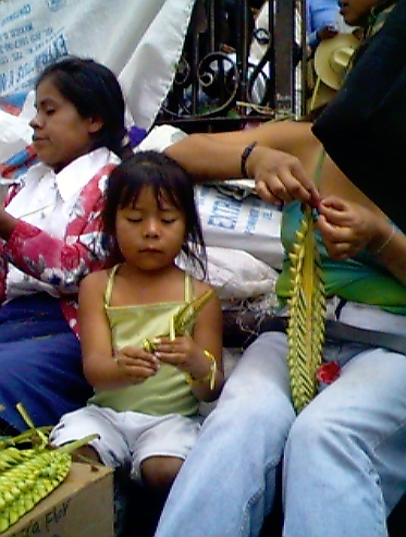 Little girl weaving Palm